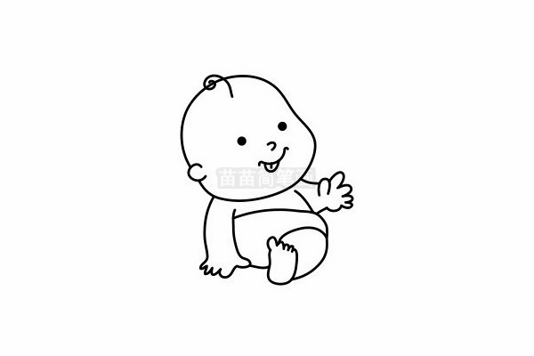 婴儿简笔画图片步骤六