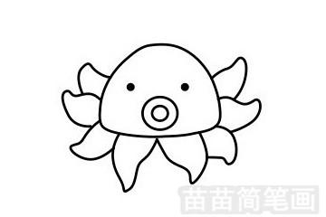 章鱼简笔画图片步骤一