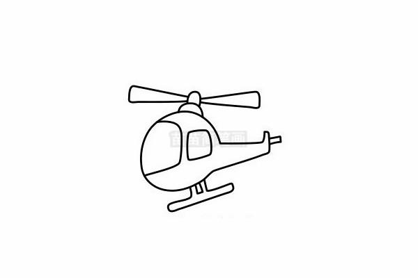 直升飞机简笔画图片步骤六