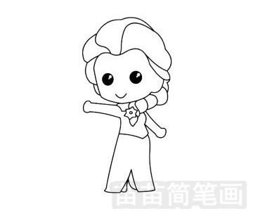 艾莎公主简笔画图片步骤四