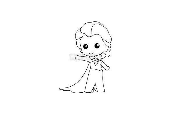 艾莎公主简笔画图片步骤五