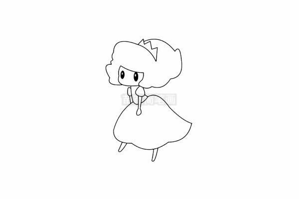 爱洛公主简笔画图片步骤五