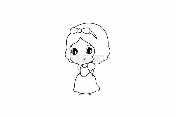 白雪公主简笔画图片步骤五