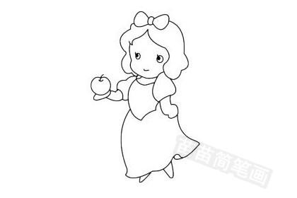 白雪公主简笔画图片大全,教程