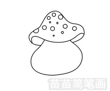 蘑菇屋简笔画图片步骤三