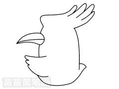 戴胜鸟简笔画图片步骤二