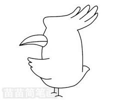 戴胜鸟简笔画图片步骤三