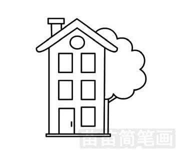 建筑简笔画图片步骤四