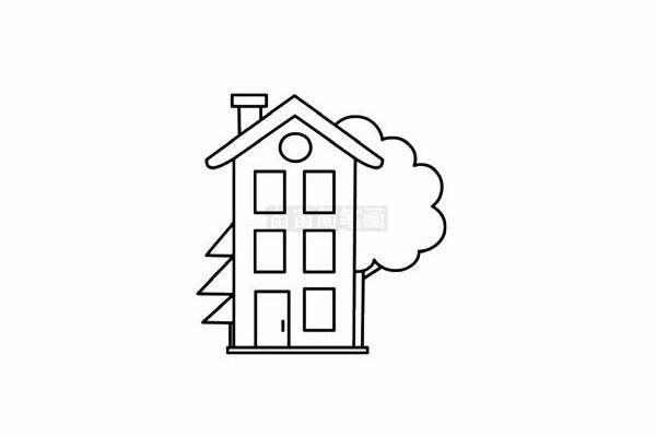 建筑简笔画图片步骤五
