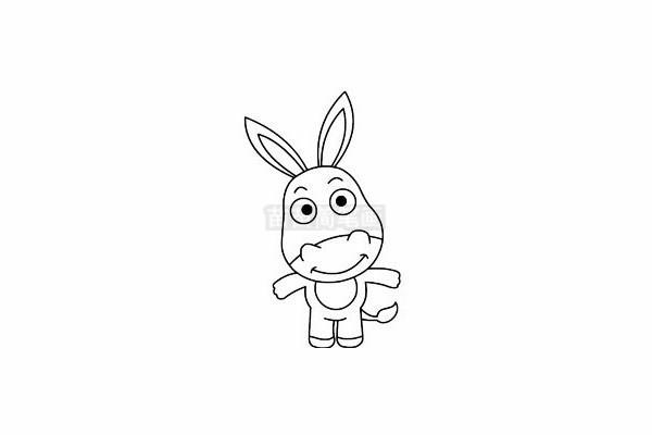 小毛驴简笔画图片步骤四
