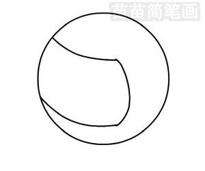 排球简笔画图片步骤二