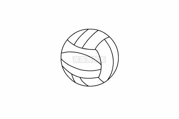 排球简笔画图片步骤五