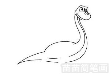 蛇颈龙简笔画图片步骤四