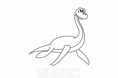 蛇颈龙简笔画大图