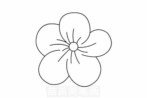 桃花简笔画分步骤画法是:画一个小圆,加上放射性弧线,画出一片