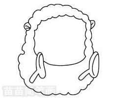小羊简笔画图片步骤二