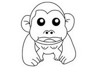 猩猩简笔画图片大全、教程