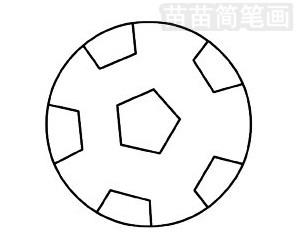 足球简笔画图片步骤三