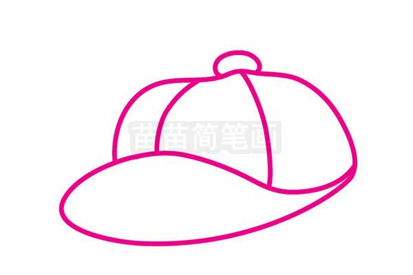棒球帽简笔画图片步骤三