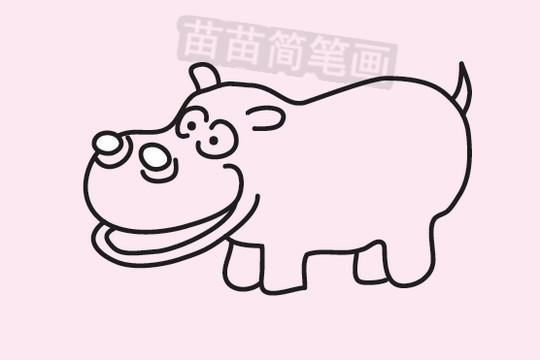 河马简笔画图片大全 教程