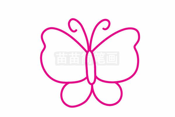 蝴蝶简笔画图片步骤三