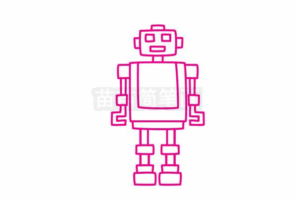 机器人简笔画图片步骤五