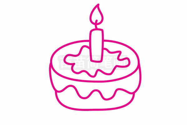 生日蛋糕简笔画图片步骤五
