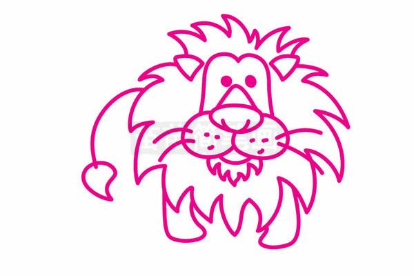 狮子简笔画图片步骤五