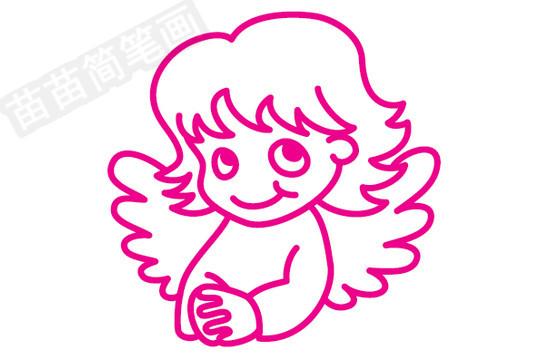 天使简笔画图片步骤三