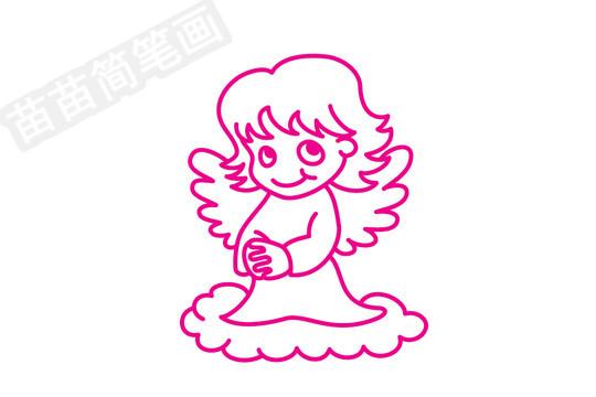 天使简笔画图片步骤四