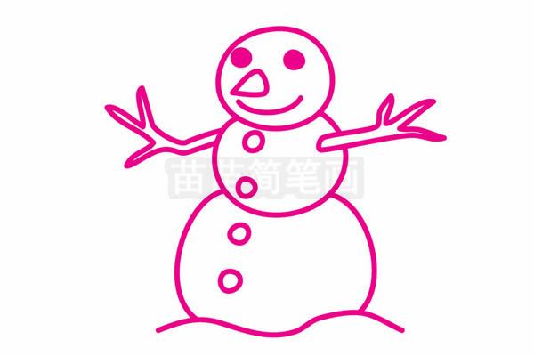 雪人简笔画图片步骤四
