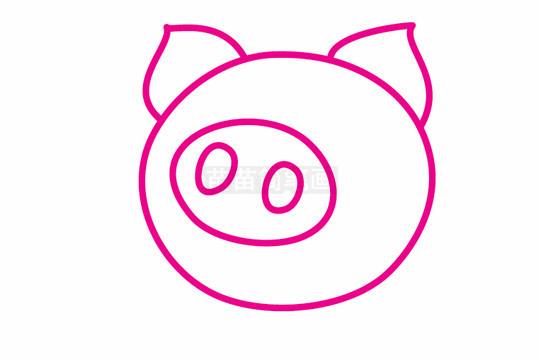 小猪简笔画图片步骤二