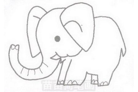 大象简笔画图片步骤三