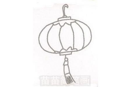 灯笼简笔画图片步骤三