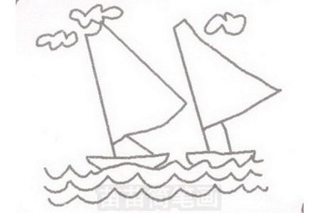帆船简笔画图片步骤三
