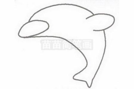 海豚简笔画图片步骤二
