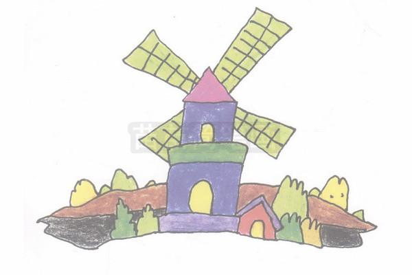 荷兰风车简笔画图片步骤四