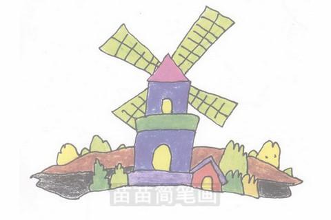 荷兰风车简笔画大图