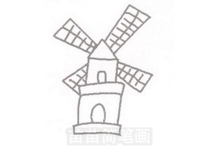 荷兰风车简笔画图片步骤一