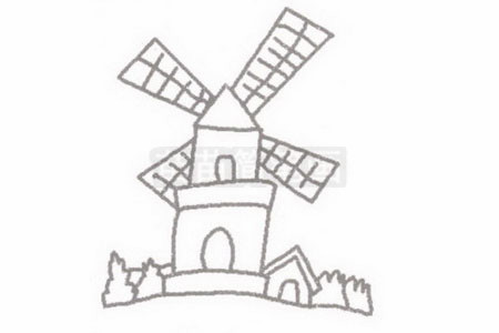 荷兰风车简笔画图片步骤二