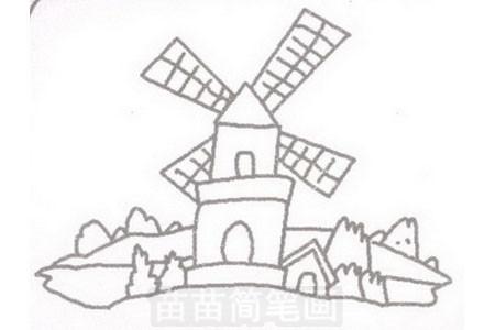 荷兰风车简笔画图片步骤三