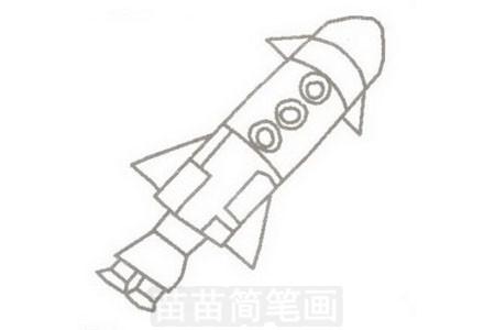 火箭简笔画图片步骤三