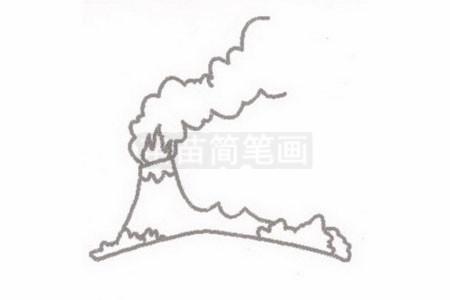 火山简笔画图片步骤二