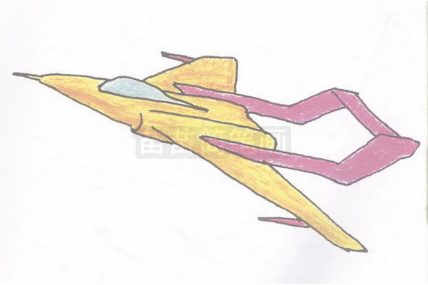 歼击机简笔画图片步骤四