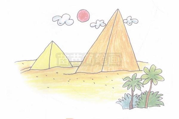 步骤四:最后给金字塔加上颜色。 金字塔小知识:金字塔是一咱古文明的代表是一部特殊的历史,它记载着埃及的历史和传说,一般指的是埃及金字塔,金字塔,依然迷雾重重金字塔,埃及胡夫大金字塔的塔高乘上10亿所得的数,和地球到太阳之间的距离相等;穿过大金字塔的子午线把地球上的陆地、海洋分成相等的两半;用2倍塔高除以塔底面积等于圆周率;金字塔结构不单能够保存动物尸体,还能够使食物保持新鲜,使刀片变得更为锋利并延长使用年限,甚至可以提高植物种子的发芽率对于规模如此庞大的巨型建筑物来说,稳固是关键。金字塔(pyrami