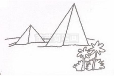 金字塔简笔画图片步骤二