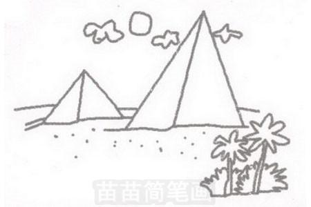 金字塔简笔画图片步骤三