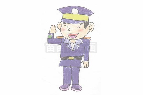 警察简笔画图片步骤四