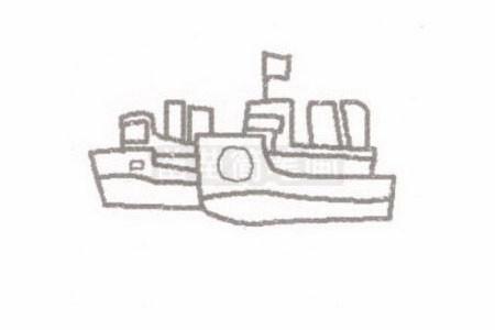 轮船简笔画图片步骤二