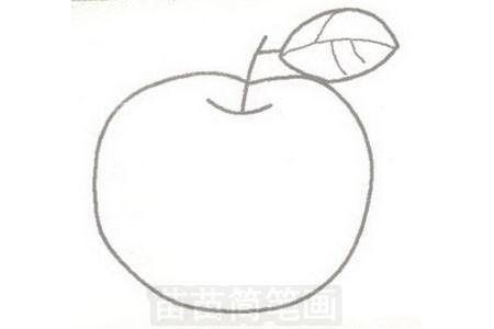 苹果简笔画图片步骤三